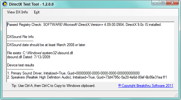 DirectX Test Tool : Installation and Troubleshooting : Knowledge Base
